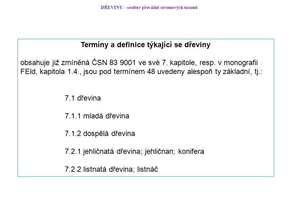 DŘEVINY – soubor přev á žně stromových taxonů Termíny a definice týkající se dřeviny obsahuje již zmíněná ČSN 83 9001 ve své 7.