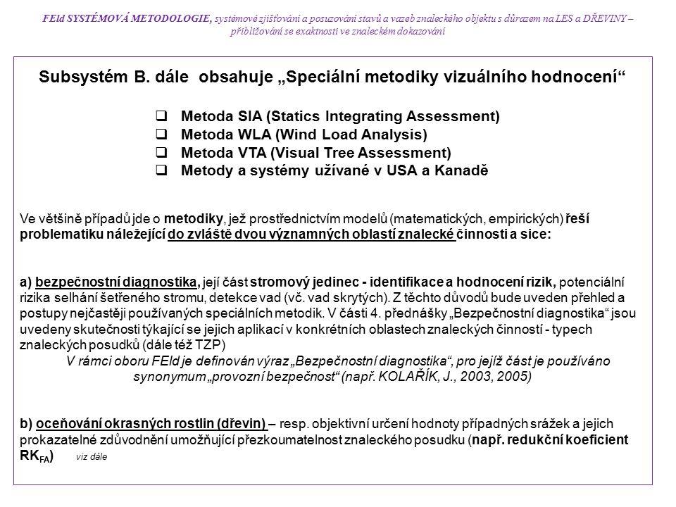 """Subsystém B. dále obsahuje """"Speciální metodiky vizuálního hodnocení""""  Metoda SIA (Statics Integrating Assessment)  Metoda WLA (Wind Load Analysis) """
