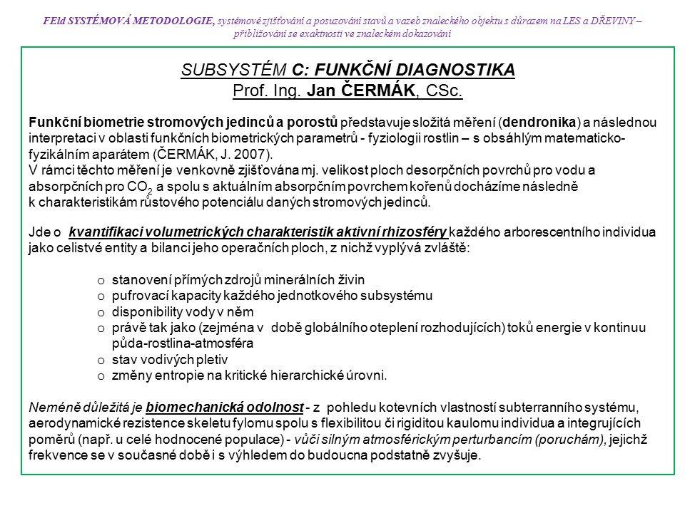 FEld SYSTÉMOVÁ METODOLOGIE, systémové zjišťování a posuzování stavů a vazeb znaleckého objektu s důrazem na LES a DŘEVINY – přibližování se exaktnosti ve znaleckém dokazování SUBSYSTÉM C: FUNKČNÍ DIAGNOSTIKA Prof.