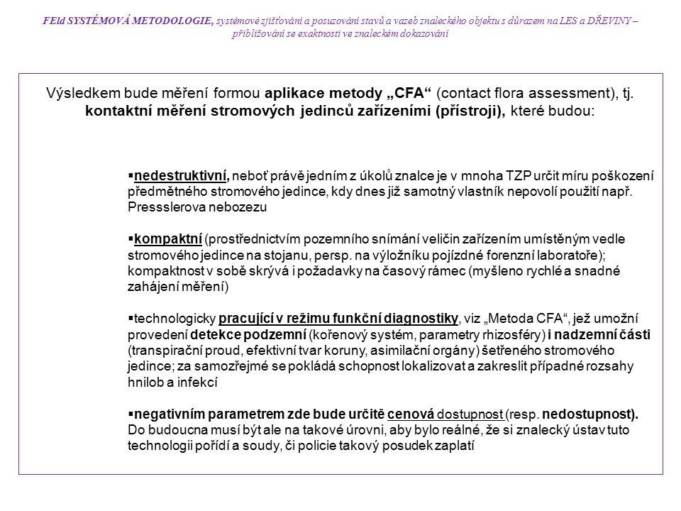 """Výsledkem bude měření formou aplikace metody """"CFA"""" (contact flora assessment), tj. kontaktní měření stromových jedinců zařízeními (přístroji), které b"""