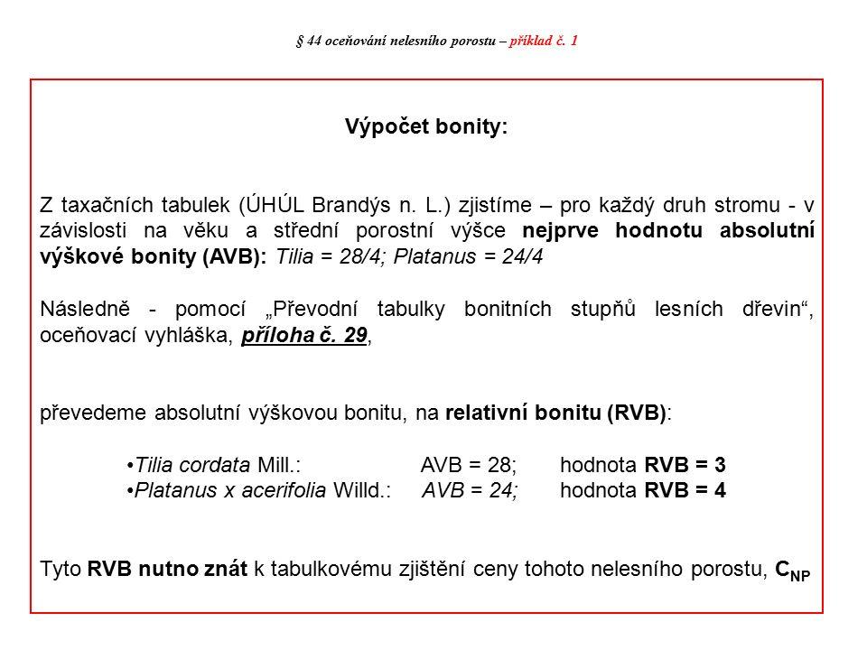 Výpočet bonity: Z taxačních tabulek (ÚHÚL Brandýs n. L.) zjistíme – pro každý druh stromu - v závislosti na věku a střední porostní výšce nejprve hodn