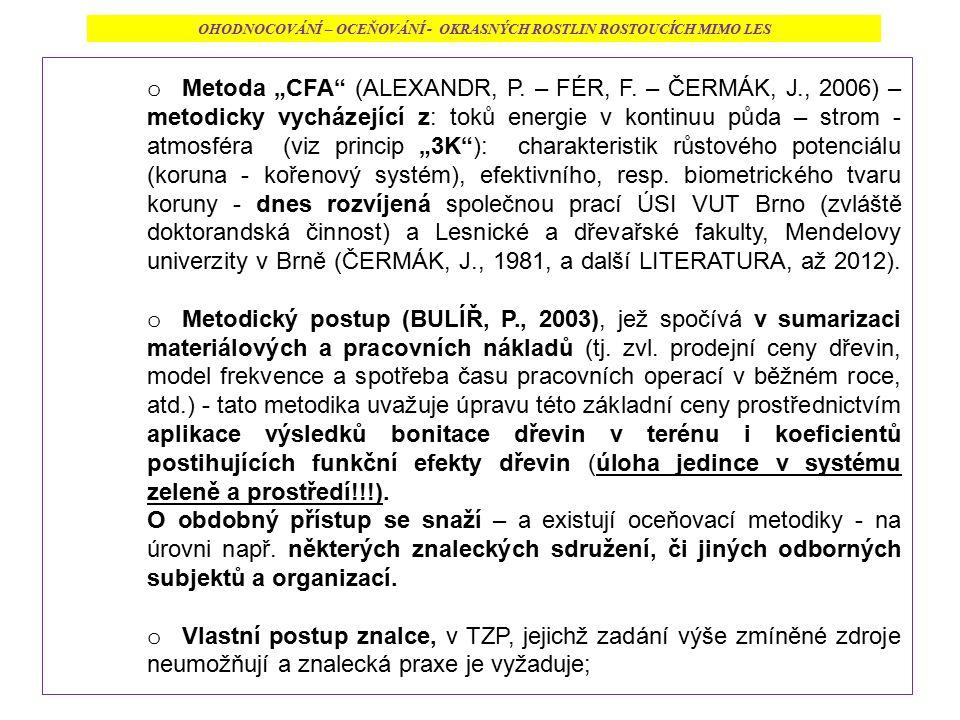 """o Metoda """"CFA"""" (ALEXANDR, P. – FÉR, F. – ČERMÁK, J., 2006) – metodicky vycházející z: toků energie v kontinuu půda – strom - atmosféra (viz princip """"3"""