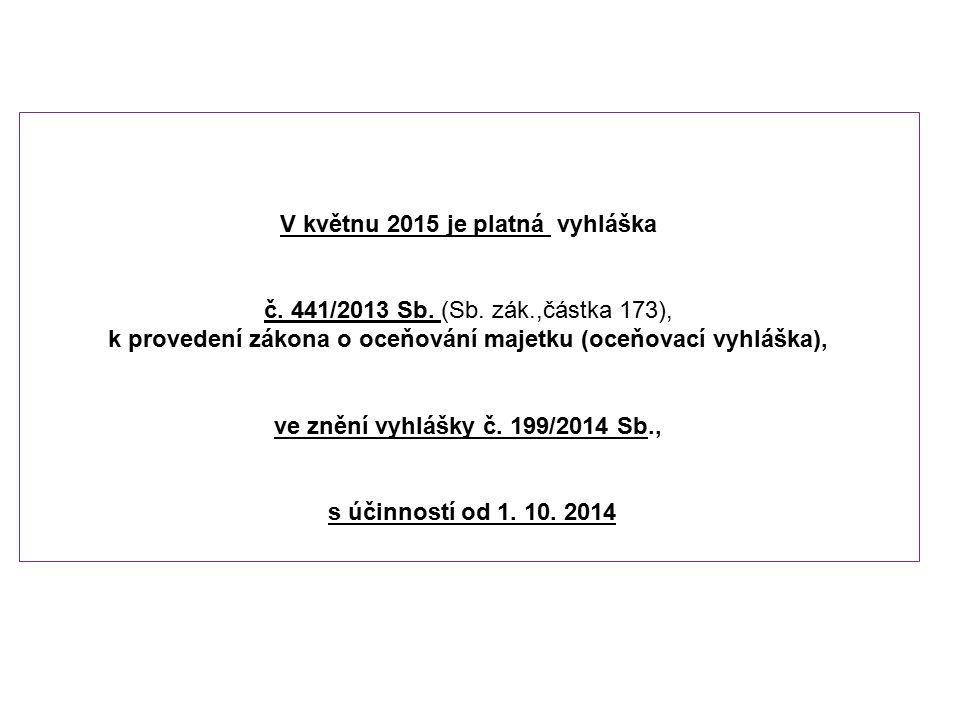 V květnu 2015 je platná vyhláška č. 441/2013 Sb. (Sb. zák.,částka 173), k provedení zákona o oceňování majetku (oceňovací vyhláška), ve znění vyhlášky
