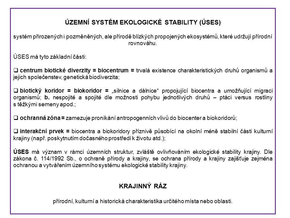 ÚZEMNÍ SYSTÉM EKOLOGICKÉ STABILITY (ÚSES) systém přirozených i pozměněných, ale přírodě blízkých propojených ekosystémů, které udržují přírodní rovnováhu.