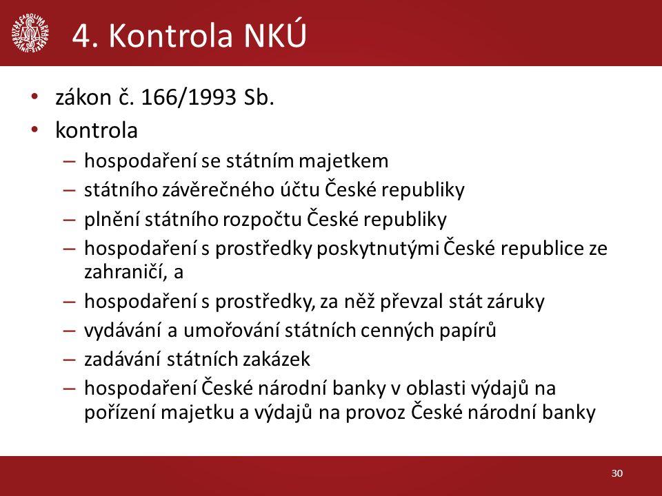 4. Kontrola NKÚ zákon č. 166/1993 Sb.