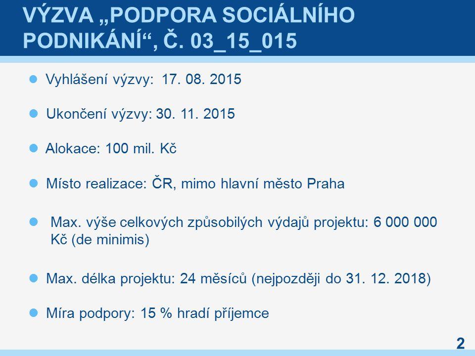 """VÝZVA """"PODPORA SOCIÁLNÍHO PODNIKÁNÍ , Č. 03_15_015 Vyhlášení výzvy: 17."""