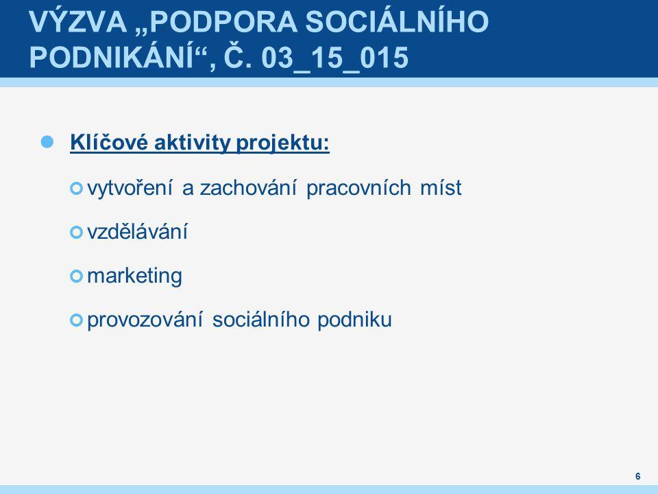 """VÝZVA """"PODPORA SOCIÁLNÍHO PODNIKÁNÍ , Č."""