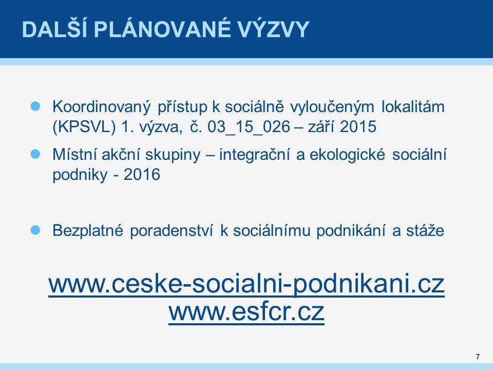 DALŠÍ PLÁNOVANÉ VÝZVY Koordinovaný přístup k sociálně vyloučeným lokalitám (KPSVL) 1.