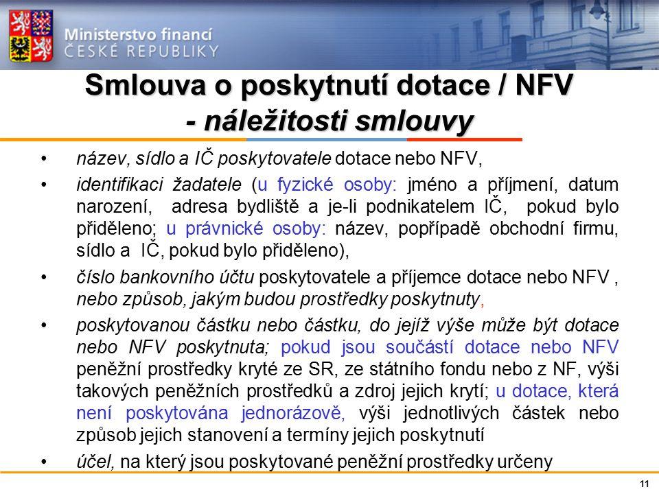 Ministerstvo financí České republiky Smlouva o poskytnutí dotace / NFV - náležitosti smlouvy dobu, v níž má být stanoveného účelu dosaženo u NFV lhůty pro navrácení poskytnutých peněžních prostředků a výši jednotlivých splátek podmínky, které je příjemce povinen při použití peněžních prostředků splnit (přímo použité finanční prostředky) případně další podmínky související s účelem, na který byly peněžní prostředky poskytnuty, které je příjemce povinen dodržet (nedají se vyjádřit výší prostředků např.