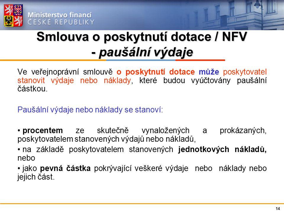 Ministerstvo financí České republiky Smlouva o poskytnutí dotace / NFV - paušální výdaje Ve veřejnoprávní smlouvě o poskytnutí dotace může poskytovatel stanovit výdaje nebo náklady, které budou vyúčtovány paušální částkou.