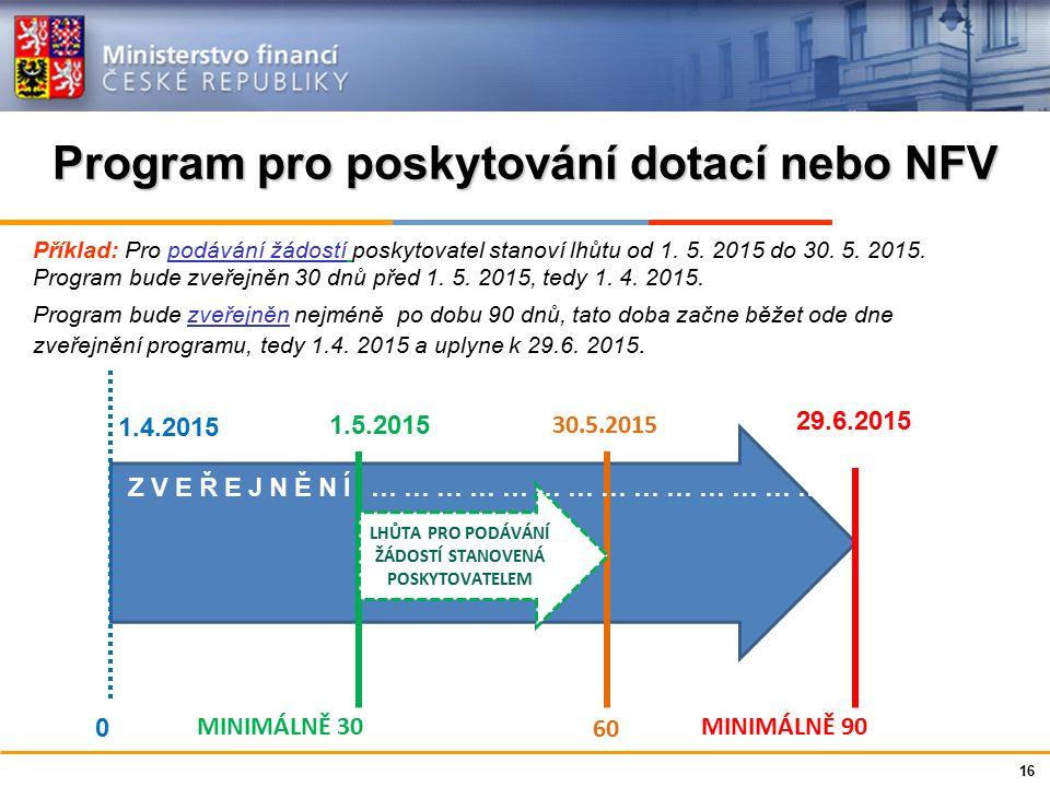 Program pro poskytování dotací nebo NFV 16 Příklad: Pro podávání žádostí poskytovatel stanoví lhůtu od 1.