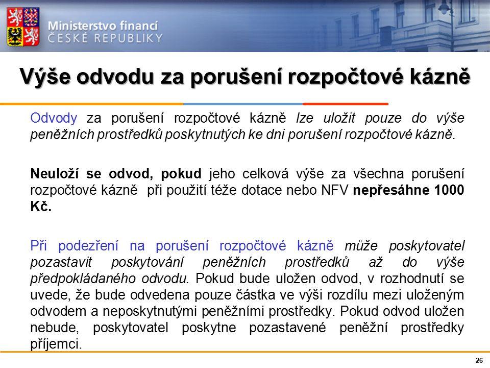 Ministerstvo financí České republiky Porušení rozpočtové kázně Opatření k nápravě Domnívá-li se poskytovatel na základě kontrolního zjištění, že příjemce porušil méně závažnou podmínku, za níž byla dotace poskytnuta, u které je stanoven nižší odvod, a jejíž povaha umožňuje nápravu v náhradní lhůtě, písemně vyzve příjemce k provedení opatření k nápravě.