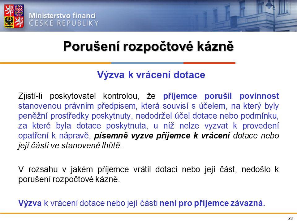 Ministerstvo financí České republiky Porušení rozpočtové kázně - penále za prodlení s odvodem Výše penále = 1 promile z částky odvodu za každý den prodlení s odvodem nejvýše do výše odvodu.