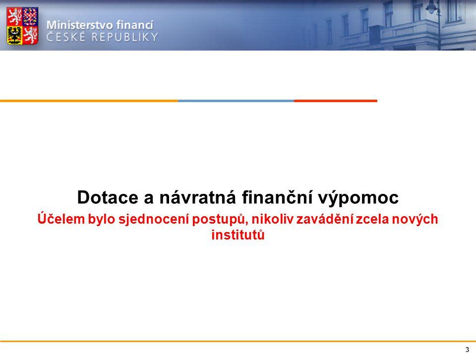 Ministerstvo financí České republiky Dotace a návratná finanční výpomoc Účelem bylo sjednocení postupů, nikoliv zavádění zcela nových institutů 3