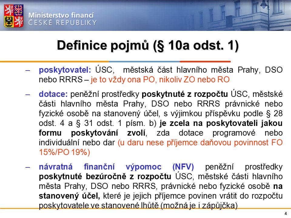 Ministerstvo financí České republiky Definice pojmů (§ 10a odst.