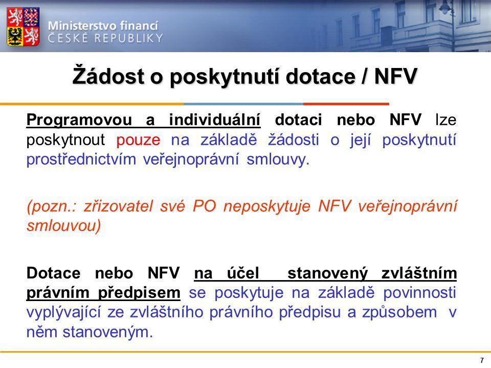 Ministerstvo financí České republiky Žádost o poskytnutí dotace / NFV Programovou a individuální dotaci nebo NFV lze poskytnout pouze na základě žádosti o její poskytnutí prostřednictvím veřejnoprávní smlouvy.