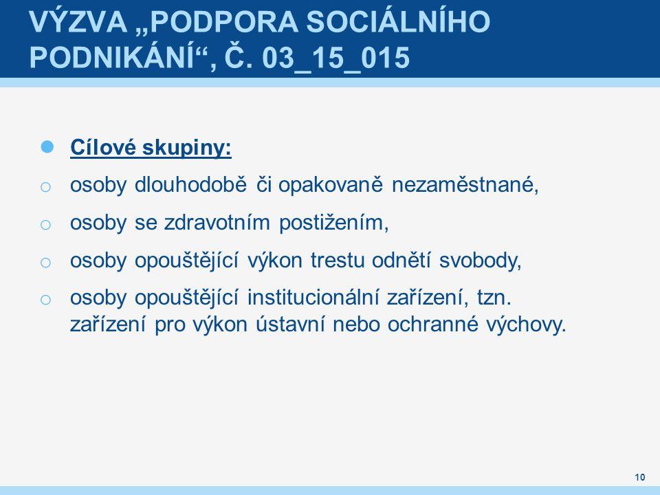 """VÝZVA """"PODPORA SOCIÁLNÍHO PODNIKÁNÍ"""", Č. 03_15_015 Cílové skupiny: o osoby dlouhodobě či opakovaně nezaměstnané, o osoby se zdravotním postižením, o o"""