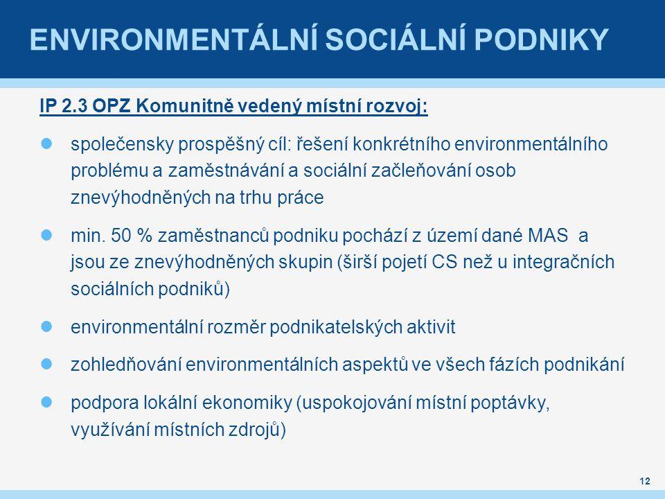 ENVIRONMENTÁLNÍ SOCIÁLNÍ PODNIKY IP 2.3 OPZ Komunitně vedený místní rozvoj: společensky prospěšný cíl: řešení konkrétního environmentálního problému a