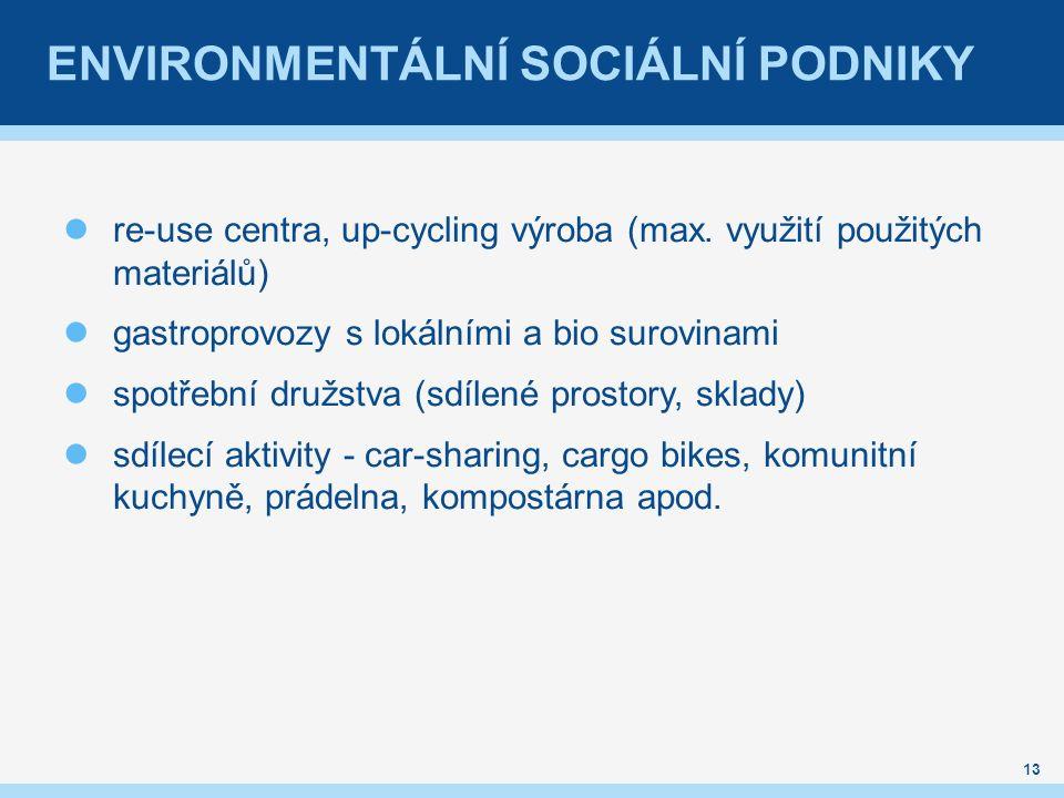 ENVIRONMENTÁLNÍ SOCIÁLNÍ PODNIKY re-use centra, up-cycling výroba (max. využití použitých materiálů) gastroprovozy s lokálními a bio surovinami spotře