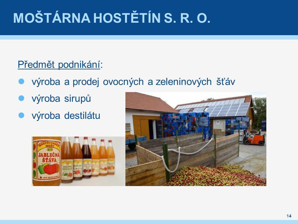 MOŠTÁRNA HOSTĚTÍN S. R. O. Předmět podnikání: výroba a prodej ovocných a zeleninových šťáv výroba sirupů výroba destilátu 14