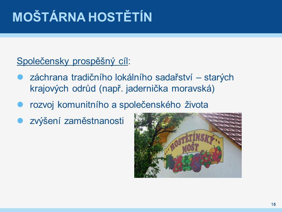 MOŠTÁRNA HOSTĚTÍN Společensky prospěšný cíl: záchrana tradičního lokálního sadařství – starých krajových odrůd (např. jadernička moravská) rozvoj komu