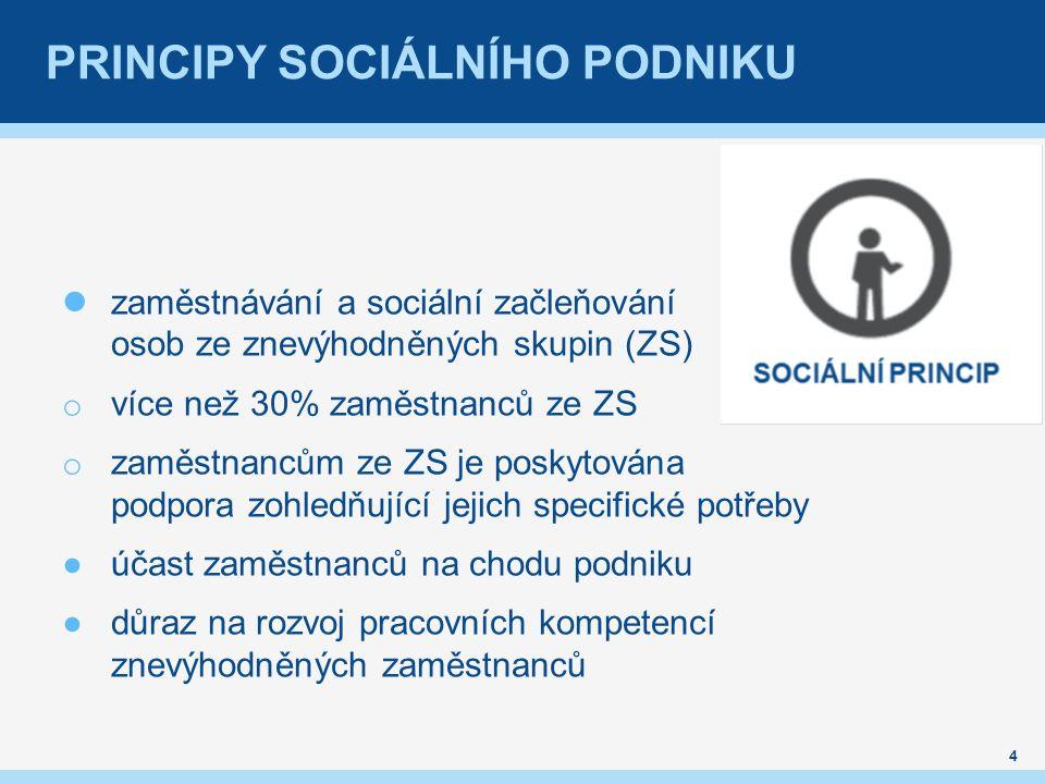 PRINCIPY SOCIÁLNÍHO PODNIKU 4 zaměstnávání a sociální začleňování osob ze znevýhodněných skupin (ZS) o více než 30% zaměstnanců ze ZS o zaměstnancům z