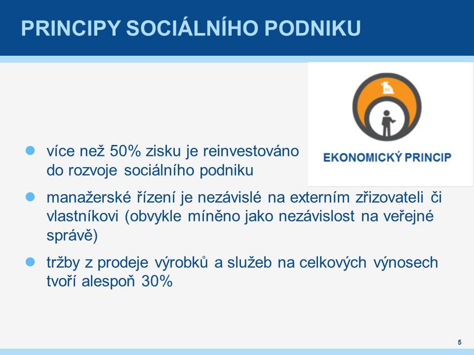 PRINCIPY SOCIÁLNÍHO PODNIKU více než 50% zisku je reinvestováno do rozvoje sociálního podniku manažerské řízení je nezávislé na externím zřizovateli č