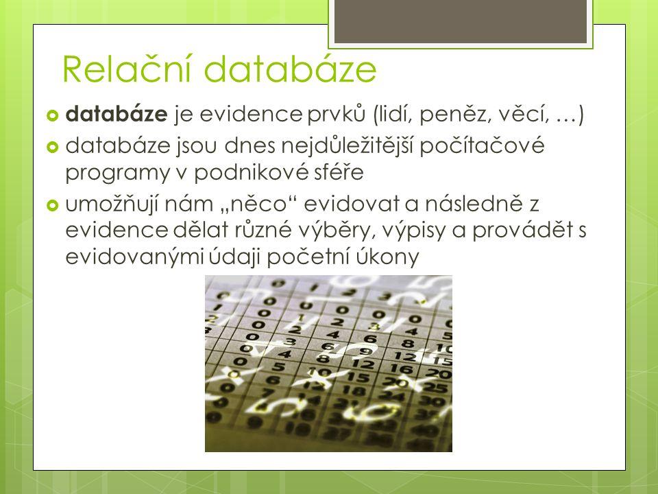 """Relační databáze  databáze je evidence prvků (lidí, peněz, věcí, …)  databáze jsou dnes nejdůležitější počítačové programy v podnikové sféře  umožňují nám """"něco evidovat a následně z evidence dělat různé výběry, výpisy a provádět s evidovanými údaji početní úkony"""