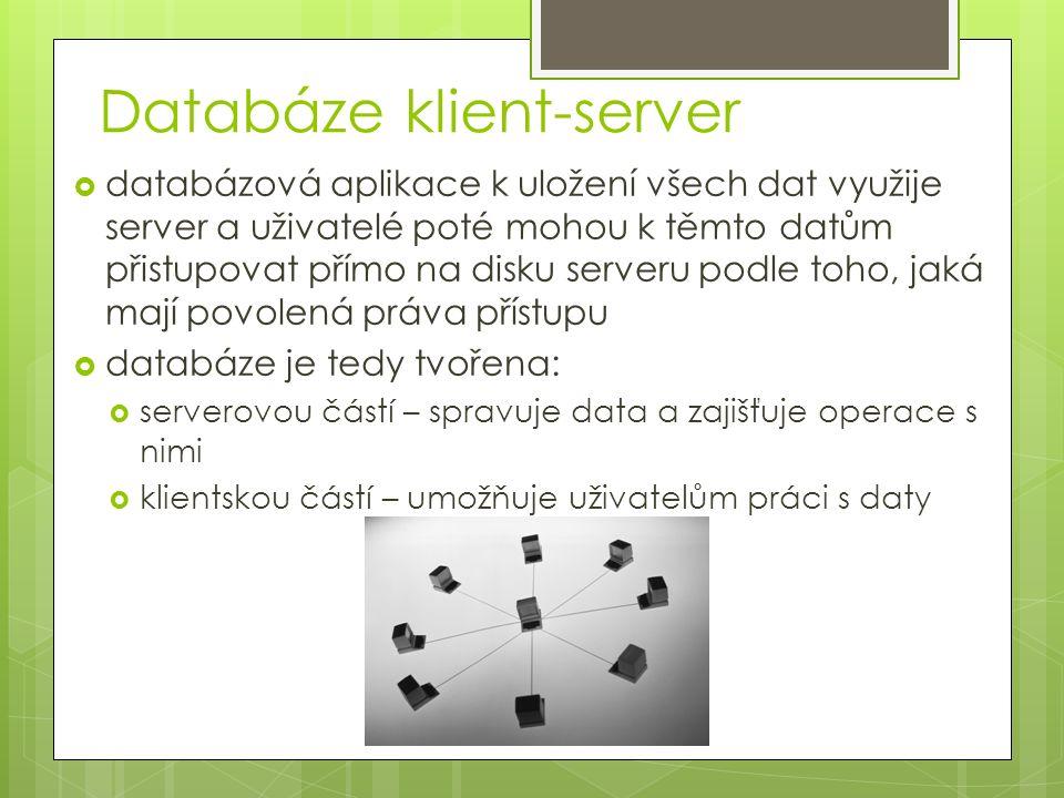 Databáze klient-server  databázová aplikace k uložení všech dat využije server a uživatelé poté mohou k těmto datům přistupovat přímo na disku serveru podle toho, jaká mají povolená práva přístupu  databáze je tedy tvořena:  serverovou částí – spravuje data a zajišťuje operace s nimi  klientskou částí – umožňuje uživatelům práci s daty