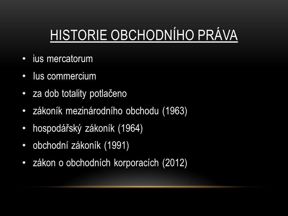 HISTORIE OBCHODNÍHO PRÁVA ius mercatorum Ius commercium za dob totality potlačeno zákoník mezinárodního obchodu (1963) hospodářský zákoník (1964) obchodní zákoník (1991) zákon o obchodních korporacích (2012)