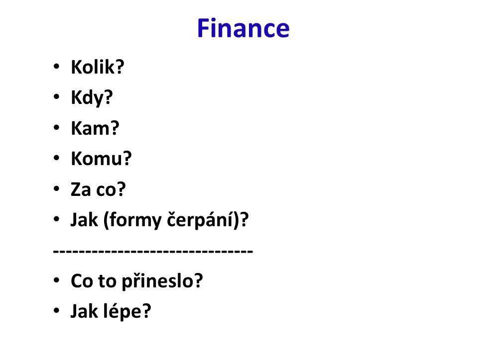 Finance Kolik. Kdy. Kam. Komu. Za co. Jak (formy čerpání).