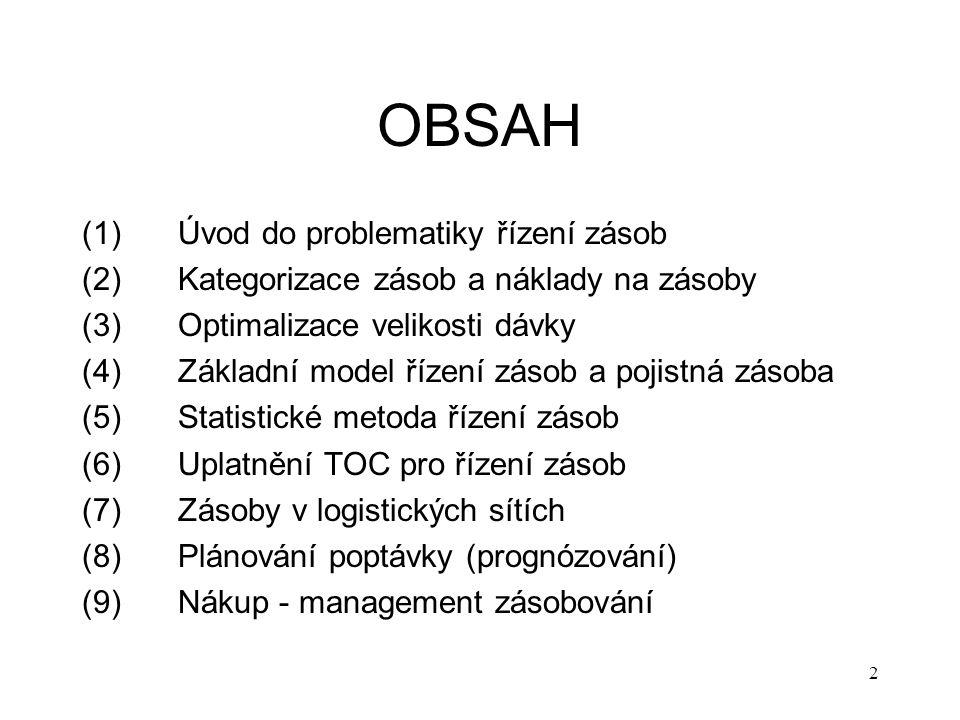 OBSAH (1)Úvod do problematiky řízení zásob (2) Kategorizace zásob a náklady na zásoby (3)Optimalizace velikosti dávky (4)Základní model řízení zásob a pojistná zásoba (5)Statistické metoda řízení zásob (6)Uplatnění TOC pro řízení zásob (7) Zásoby v logistických sítích (8) Plánování poptávky (prognózování) (9) Nákup - management zásobování 2