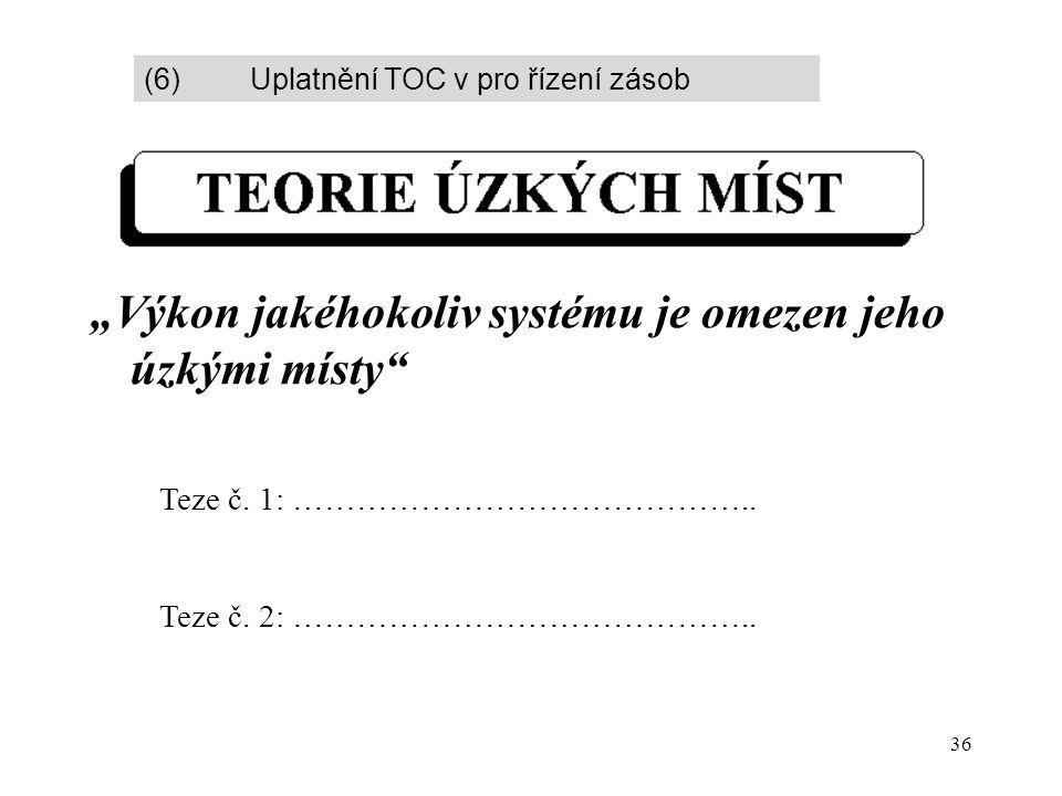 """36 """"Výkon jakéhokoliv systému je omezen jeho úzkými místy"""" Teze č. 1: …………………………………….. Teze č. 2: …………………………………….. (6) Uplatnění TOC v pro řízení záso"""