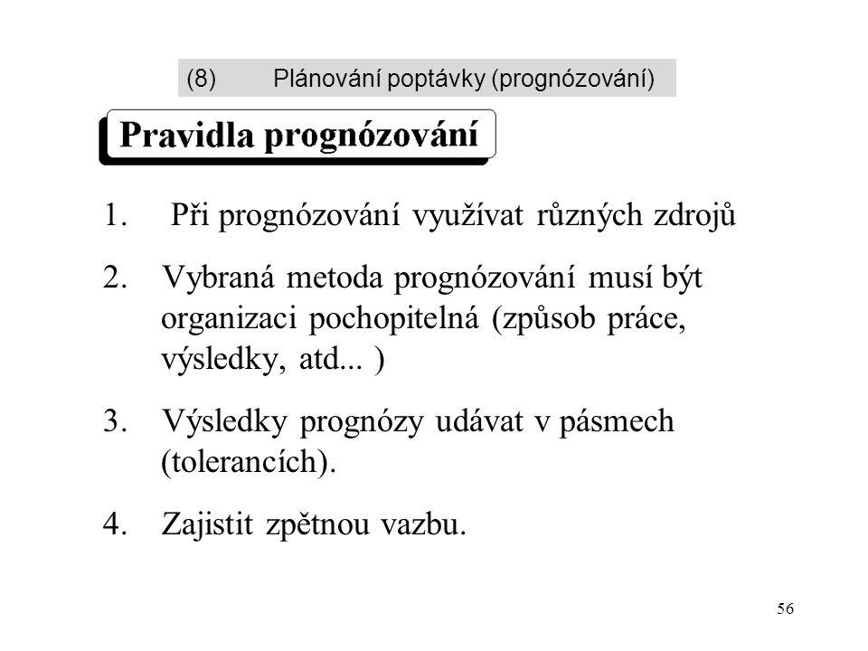 56 1. Při prognózování využívat různých zdrojů 2. Vybraná metoda prognózování musí být organizaci pochopitelná (způsob práce, výsledky, atd... ) 3. Vý