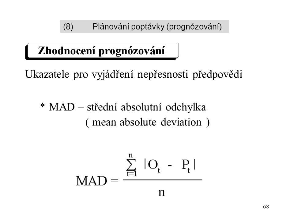 68 Ukazatele pro vyjádření nepřesnosti předpovědi *MAD – střední absolutní odchylka ( mean absolute deviation ) (8)Plánování poptávky (prognózování)