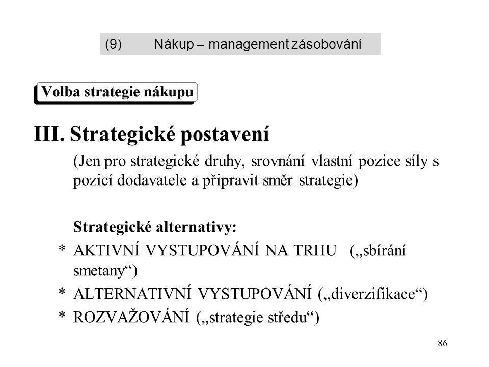 86 III. Strategické postavení (Jen pro strategické druhy, srovnání vlastní pozice síly s pozicí dodavatele a připravit směr strategie) Strategické alt
