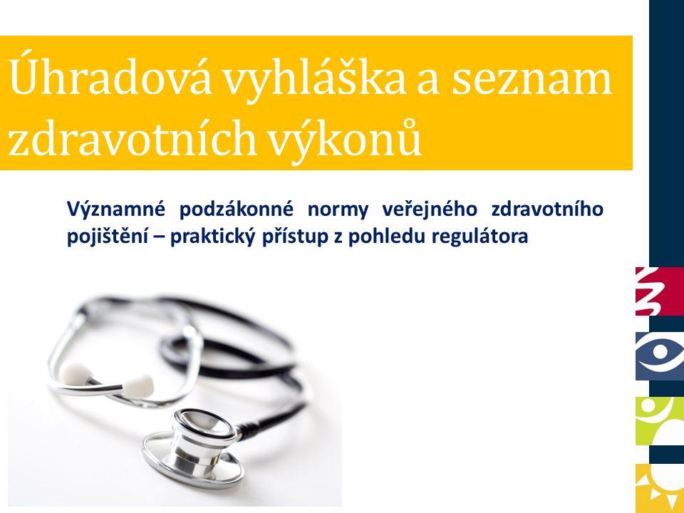 Úhradová vyhláška a seznam zdravotních výkonů Významné podzákonné normy veřejného zdravotního pojištění – praktický přístup z pohledu regulátora