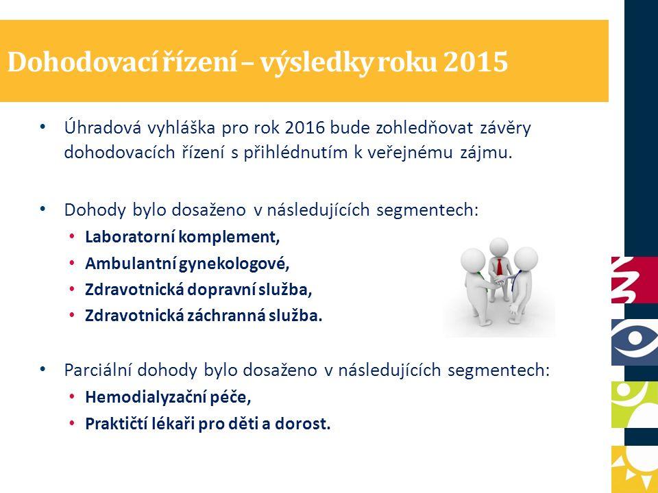 Dohodovací řízení – výsledky roku 2015 Úhradová vyhláška pro rok 2016 bude zohledňovat závěry dohodovacích řízení s přihlédnutím k veřejnému zájmu. Do