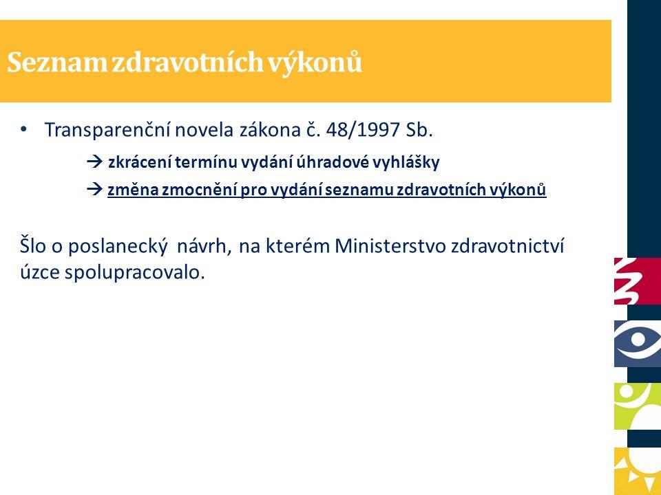 Seznam zdravotních výkonů Transparenční novela zákona č. 48/1997 Sb.  zkrácení termínu vydání úhradové vyhlášky  změna zmocnění pro vydání seznamu z