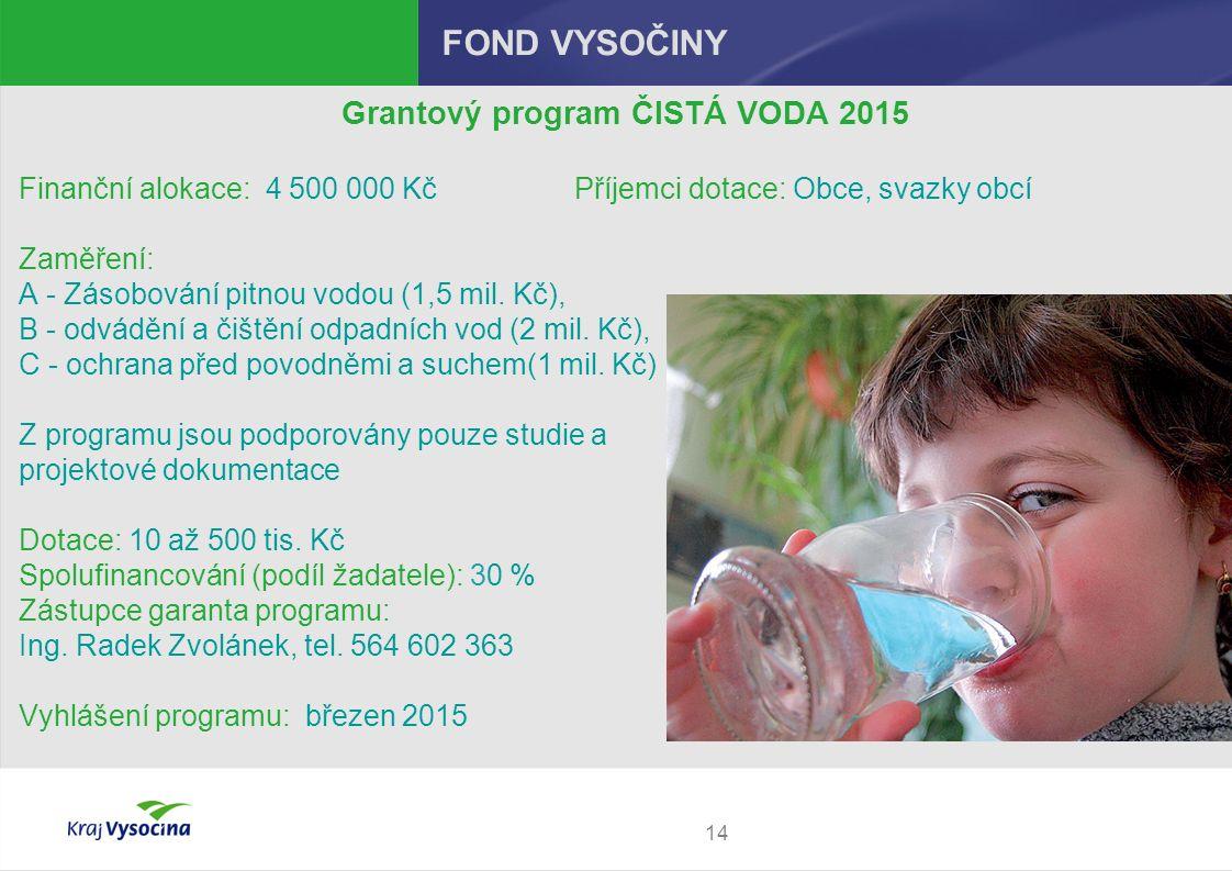 14 FOND VYSOČINY Grantový program ČISTÁ VODA 2015 Finanční alokace: 4 500 000 Kč Příjemci dotace: Obce, svazky obcí Zaměření: A - Zásobování pitnou vodou (1,5 mil.