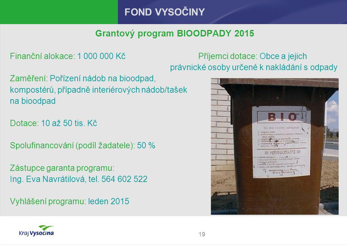 19 FOND VYSOČINY Grantový program BIOODPADY 2015 Finanční alokace: 1 000 000 Kč Příjemci dotace: Obce a jejich právnické osoby určené k nakládání s odpady Zaměření: Pořízení nádob na bioodpad, kompostérů, případně interiérových nádob/tašek na bioodpad Dotace: 10 až 50 tis.