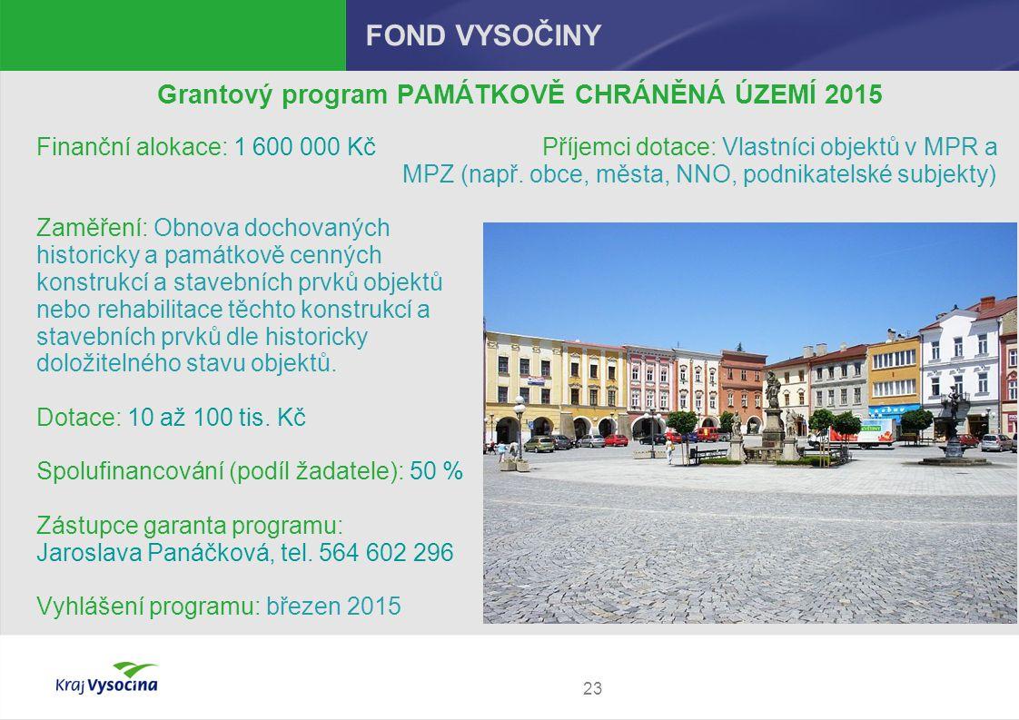 23 FOND VYSOČINY Grantový program PAMÁTKOVĚ CHRÁNĚNÁ ÚZEMÍ 2015 Finanční alokace: 1 600 000 Kč Příjemci dotace: Vlastníci objektů v MPR a MPZ (např.