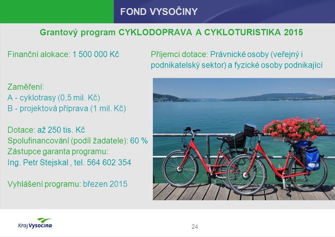24 FOND VYSOČINY Grantový program CYKLODOPRAVA A CYKLOTURISTIKA 2015 Finanční alokace: 1 500 000 Kč Příjemci dotace: Právnické osoby (veřejný i podnikatelský sektor) a fyzické osoby podnikající Zaměření: A - cyklotrasy (0,5 mil.
