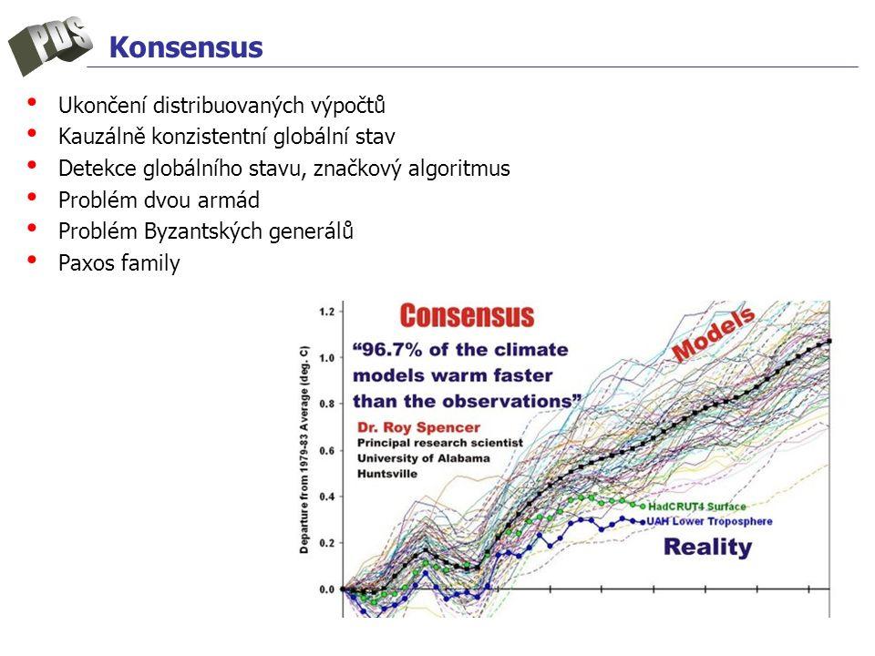 Ukončení distribuovaných výpočtů Kauzálně konzistentní globální stav Detekce globálního stavu, značkový algoritmus Problém dvou armád Problém Byzantských generálů Paxos family