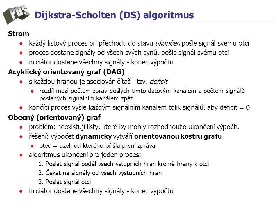 Dijkstra-Scholten (DS) algoritmus Strom ♦ každý listový proces při přechodu do stavu ukončen pošle signál svému otci ♦ proces dostane signály od všech svých synů, pošle signál svému otci ♦ iniciátor dostane všechny signály - konec výpočtu Acyklický orientovaný graf (DAG) ♦ s každou hranou je asociován čítač - tzv.