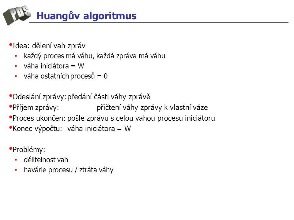 Huangův algoritmus Idea: dělení vah zpráv každý proces má váhu, každá zpráva má váhu váha iniciátora = W váha ostatních procesů = 0 Odeslání zprávy:předání části váhy zprávě Příjem zprávy:přičtení váhy zprávy k vlastní váze Proces ukončen:pošle zprávu s celou vahou procesu iniciátoru Konec výpočtu:váha iniciátora = W Problémy: dělitelnost vah havárie procesu / ztráta váhy