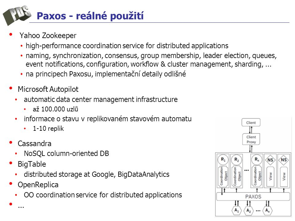 Paxos - reálné použití Yahoo Zookeeper high-performance coordination service for distributed applications naming, synchronization, consensus, group membership, leader election, queues, event notifications, configuration, workflow & cluster management, sharding,...