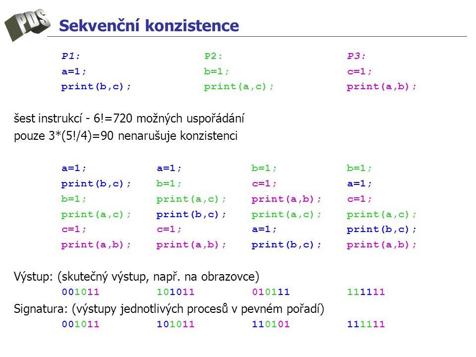 Sekvenční konzistence P1:P2:P3: a=1;b=1;c=1; print(b,c);print(a,c);print(a,b); šest instrukcí - 6!=720 možných uspořádání pouze 3*(5!/4)=90 nenarušuje konzistenci a=1;a=1;b=1;b=1; print(b,c);b=1;c=1;a=1; b=1;print(a,c);print(a,b);c=1; print(a,c);print(b,c);print(a,c);print(a,c); c=1;c=1;a=1;print(b,c); print(a,b);print(a,b);print(b,c);print(a,b); Výstup: (skutečný výstup, např.