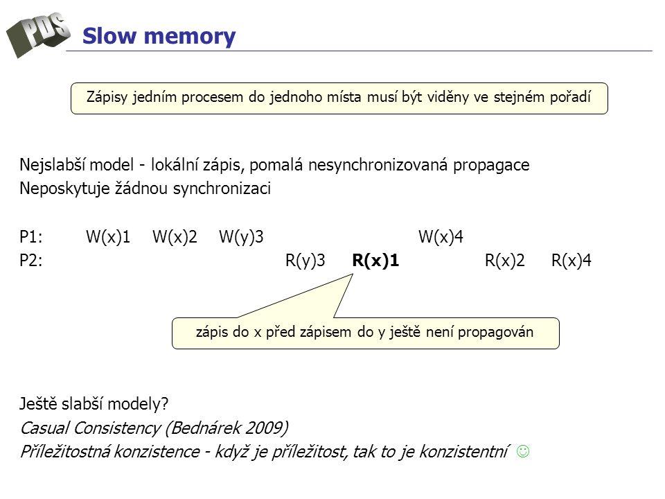 Slow memory Nejslabší model - lokální zápis, pomalá nesynchronizovaná propagace Neposkytuje žádnou synchronizaci P1: W(x)1W(x)2W(y)3W(x)4 P2: R(y)3R(x