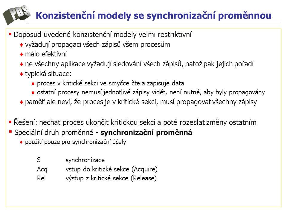 Konzistenční modely se synchronizační proměnnou ▪ Doposud uvedené konzistenční modely velmi restriktivní ♦ vyžadují propagaci všech zápisů všem proces